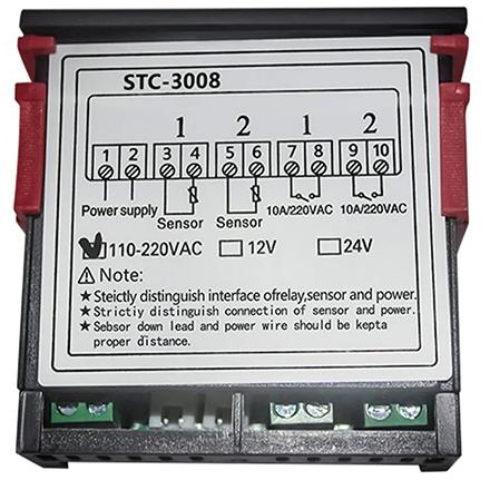 STC-3008 двухканальный термостат (-55+120°С, 220В, 10А)