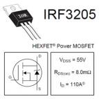 IRF3205 55v, 110A, 8mΩ, logic level MOSFET